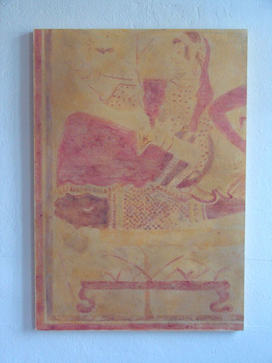 """Detail früher italienischer Grabmalerei aus dem """"Grab der Schilfes"""" ca. 350 v.Chr."""