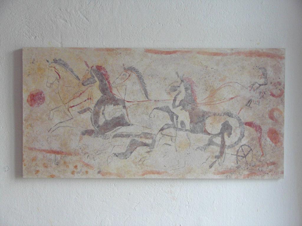 """frühe italienische Grabmalerei """"Wagenrennen"""" ca 470 v. Chr"""